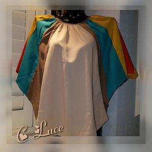 C LUCE  Batwing Colorblock Flutter Top Blouse